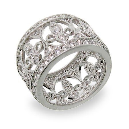 Fleur de Lis Diamond Cubic Zirconia Band | Eve's Addiction®