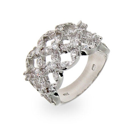 Sterling Silver CZ Basket Weave Band | Eve's Addiction®