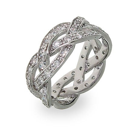 Braided Promise Ring with CZ Stones   Eve's Addiction
