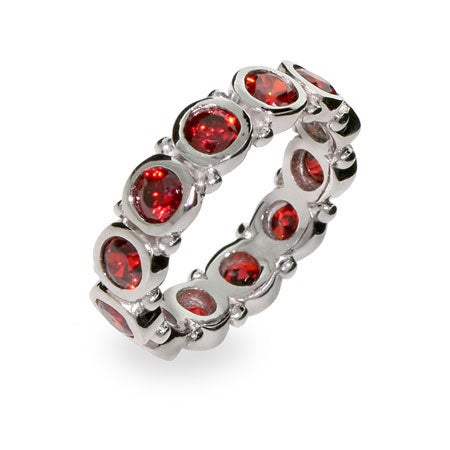 Sterling Silver Bezel Set Garnet Eternity Band | Eve's Addiction®