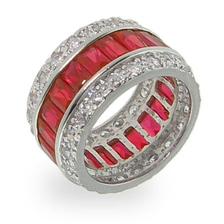 Ruby Red Sterling Silver CZ Anniversary Band | Eve's Addiction®