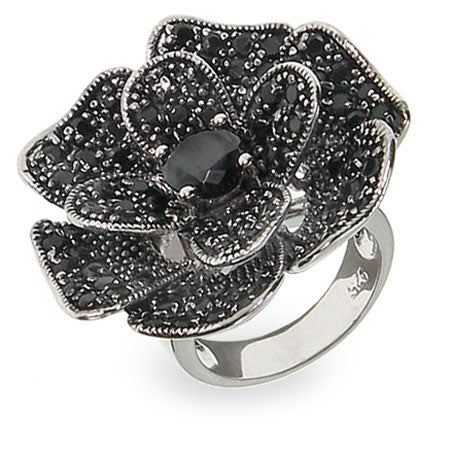Designer Inspired Black Rose Pave CZ Cocktail Ring | Eve's Addiction®