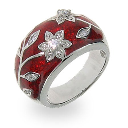 Ruby Red Enamel with Vintage CZ Flower Design Ring | Eve's Addiction