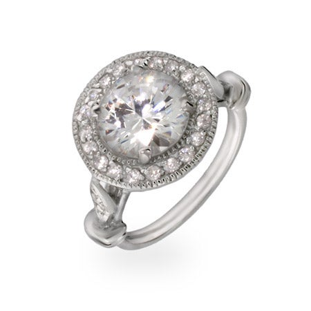 Round Cubic Zirconia Engagement Ring | Eve's Addiction®