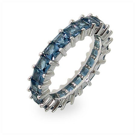 Sparkling Sapphire Princess Cut Eternity Band | Eve's Addiction®