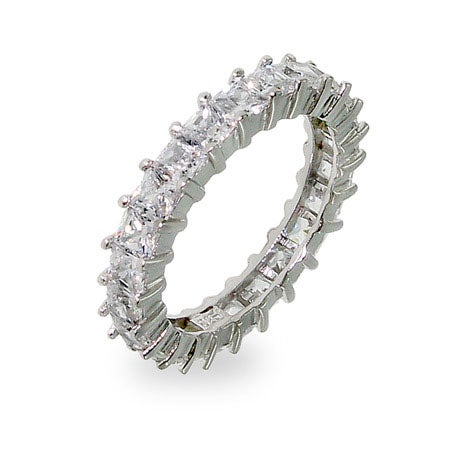 Diamond CZ Princess Cut Eternity Band | Eve's Addiction®