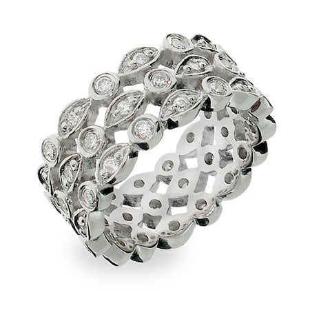Designer Style CZ Sway Eternity Band | Eve's Addiction®