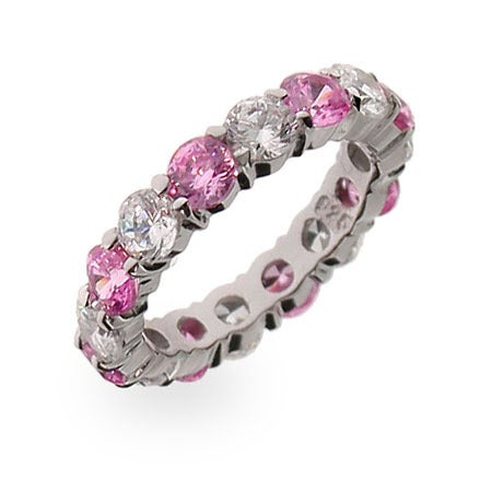 Pink Ice Stackable Sterling Silver Eternity Band | Eve's Addiction®