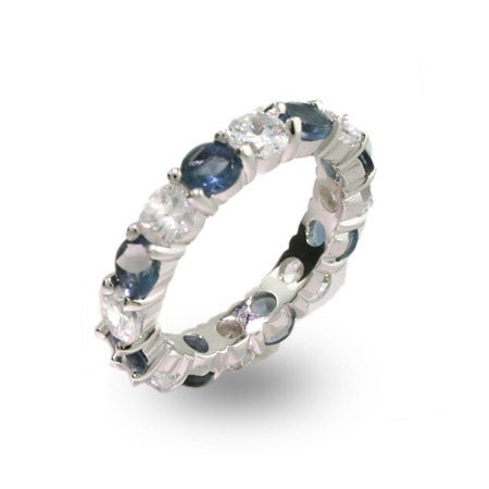 Sapphire and Clear CZ Silver Eternity Ring | Eve's Addiction®