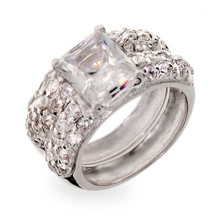 Emerald Cut CZ Sterling Silver Wedding Ring Set | Eve's Addiction®
