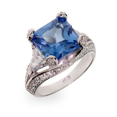 Princess Cut Blue CZ Vintage Style Sterling Silver Cocktail Ring | Eve's Addiction®