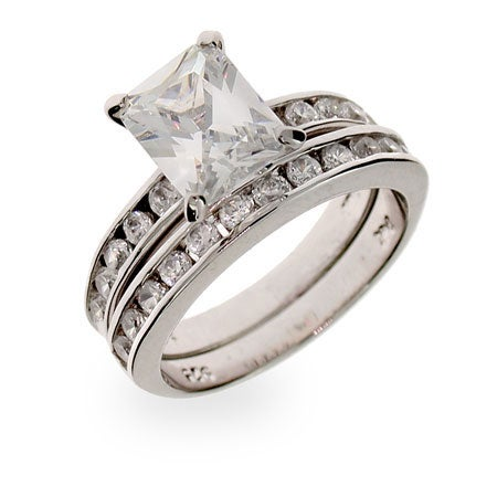 Celebrity Inspired Channel Set CZ Sterling Silver Engagement Set | Eve's Addiction®