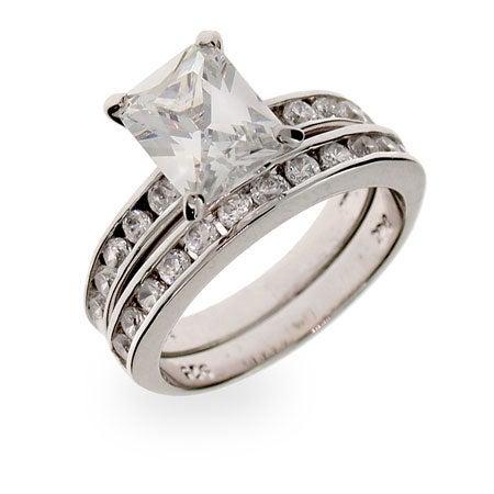 Celebrity Inspired Channel Set CZ Sterling Silver Engagement Set | Eve's Addiction®