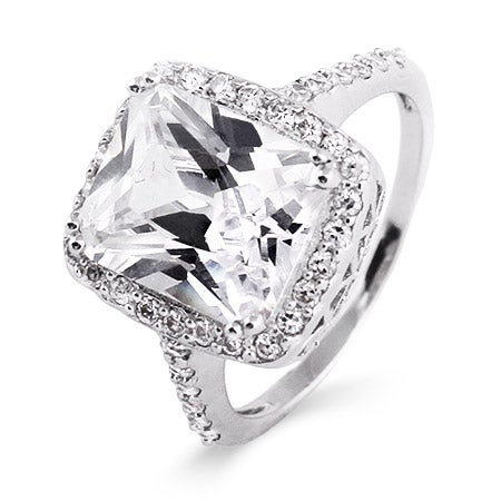 Celebrity Inspired Diamond CZ Sterling Silver Engagement Ring | Eve's Addiction®