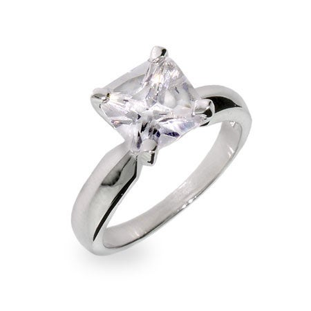 Princess Cut Solitaire CZ Sterling Silver Ring | Eve's Addiction®