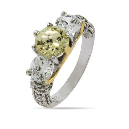 Two Tone Canary and Diamond CZ Engagement Ring | Eve's Addiction®