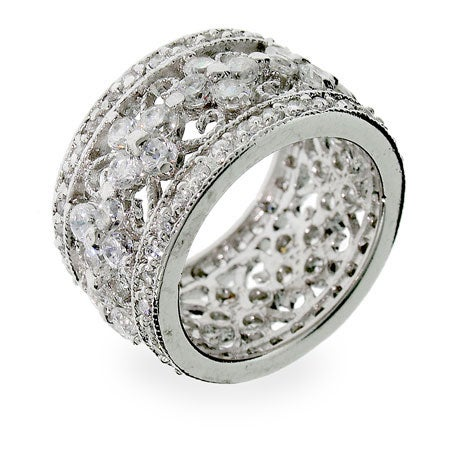 Vintage Style Flower CZ Ring in Sterling Silver | Eve's Addiction®
