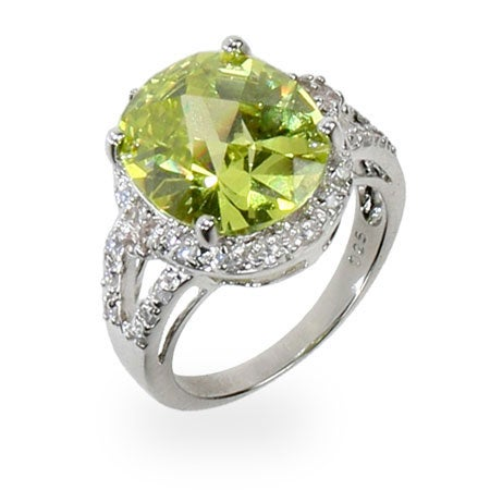 Apple Green CZ Sparkling Cocktail Ring | Eve's Addiction®