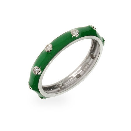 Lucky Green Enamel Stackable Ring | Eve's Addiction®