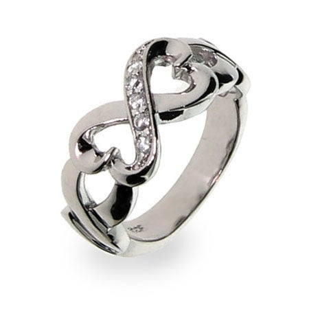 Sterling Silver Twisted Hearts Infinity Ring