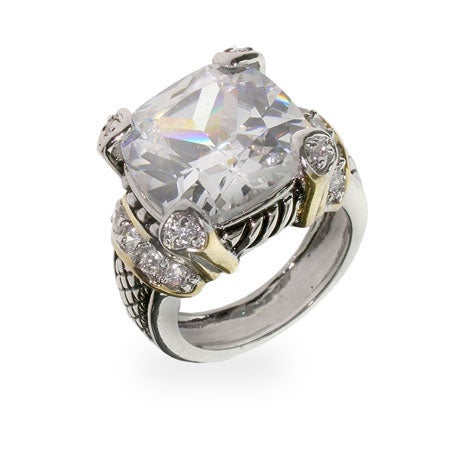 Designer Inspired Diamond CZ Cushion Cut Cocktail Ring | Eve's Addiction®