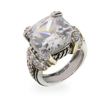 Designer Inspired Diamond CZ Cushion Cut Cocktail Ring | Eve's Addiction®