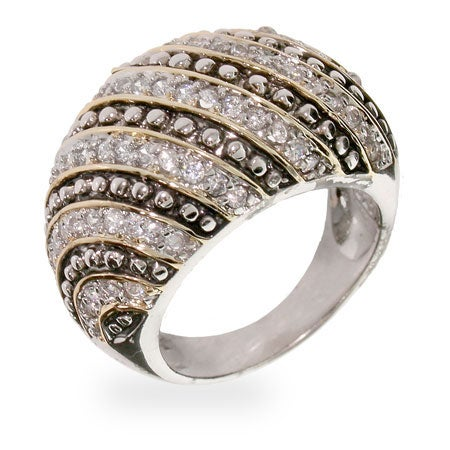 Designer Inspired Sterling Silver CZ Rope Style Cocktail Ring | Eve's Addiction®