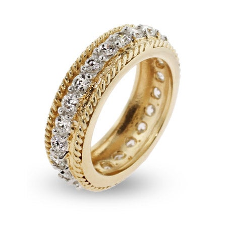 Gold Vermeil CZ Band with Braided Edges | Eve's Addiction®