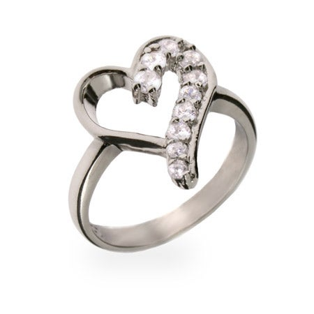 Sterling Silver CZ Journey Heart Ring | Eve's Addiction®