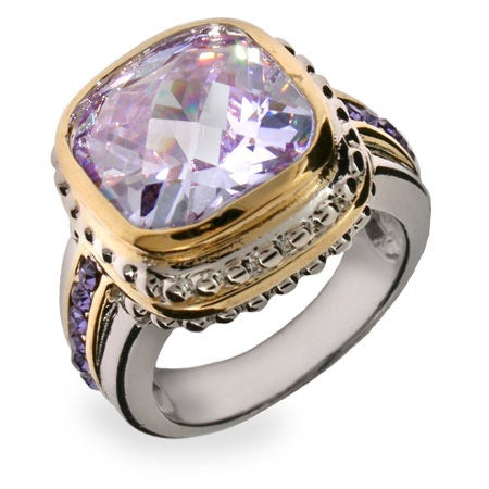 Designer Inspired Lavender Cushion Cut CZ Silver Ring | Eve's Addiction®