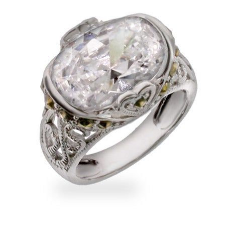 Designer Inspired Victorian Style Diamond CZ Silver Ring | Eve's Addiction®
