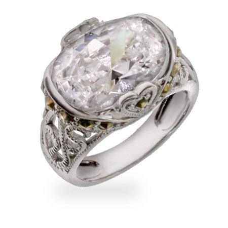 Designer Inspired Victorian Style Diamond CZ Silver Ring | Eve's Addiction®