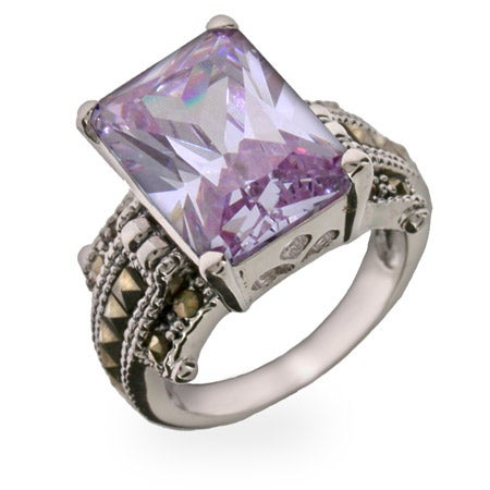 Lavender and Marcasite CZ Sterling Silver Ring | Eve's Addiction