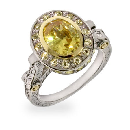 Oval Cut Canary CZ Vintage Style Ring | Eve's Addiction®