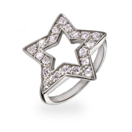 Designer Style CZ Sterling Silver Star Ring | Eve's Addiction®