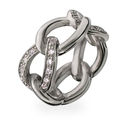 Designer Style Sterling Silver and CZ Chain Link Ring | Eve's Addiction®