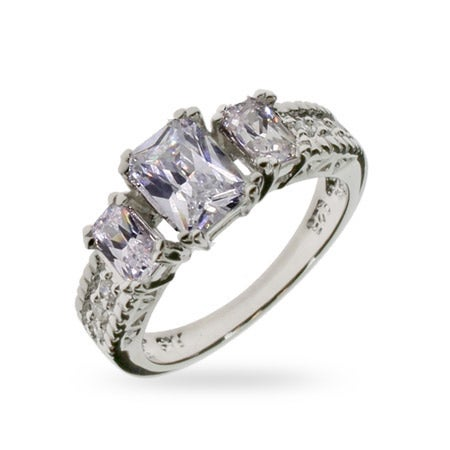 Past, Present and Future Emerald Cut Three Stone Ring | Eve's Addiction®