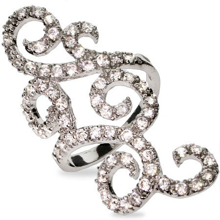 CZ Scrollwork Sterling Silver Cocktail Ring | Eve's Addiction®