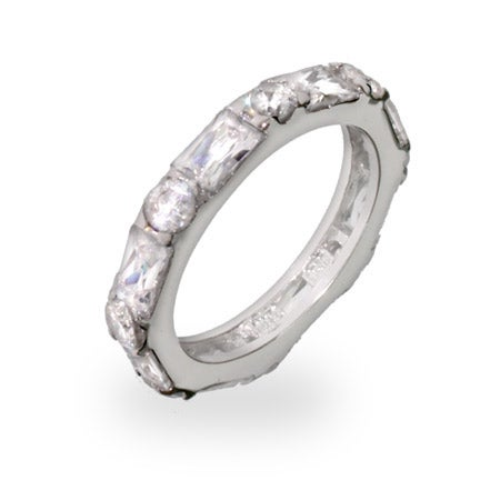 Brilliant and Emerald Cut CZ Stackable Eternity Band | Eve's Addiction®