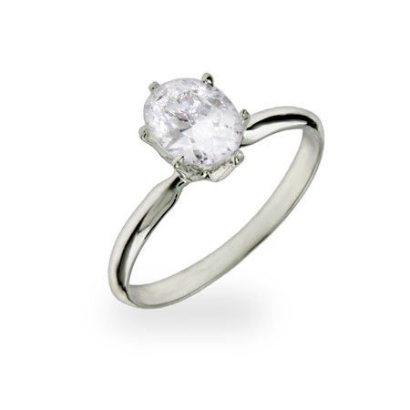 Oval Cut Solitaire CZ Sterling Silver Ring | Eve's Addiction®