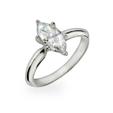 Diamond Marquis Cut Solitaire CZ Ring | Eve's Addiction