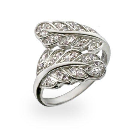 Sterling Silver and Cubic Zirconia Fern Leaf Ring | Eve's Addiction®