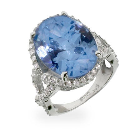 Sterling Silver Blue Topaz CZ Vintage Style Ring | Eve's Addiction®