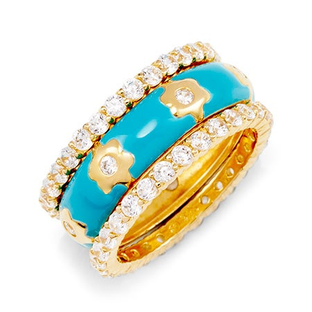 Designer Inspired Turquoise and Gold Flower Stackable Ring Set | Eve's Addiction®