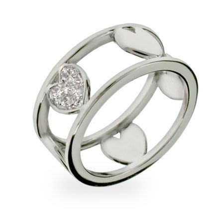 Designer Style Sterling Silver Cut Out Band of Hearts Ring | Eve's Addiction®