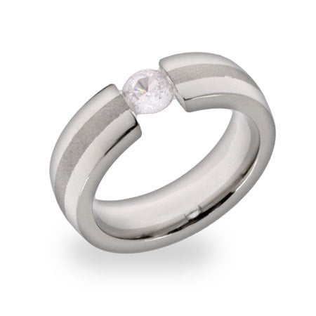 Floating Brilliant Cut CZ Stainless Steel Ring | Eve's Addiction®
