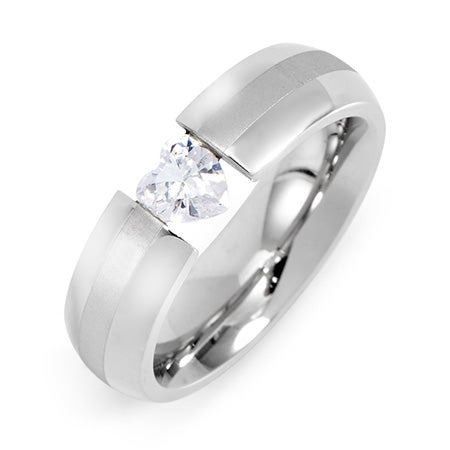 Floating CZ Heart Stainless Steel Ring | Eve's Addiction®