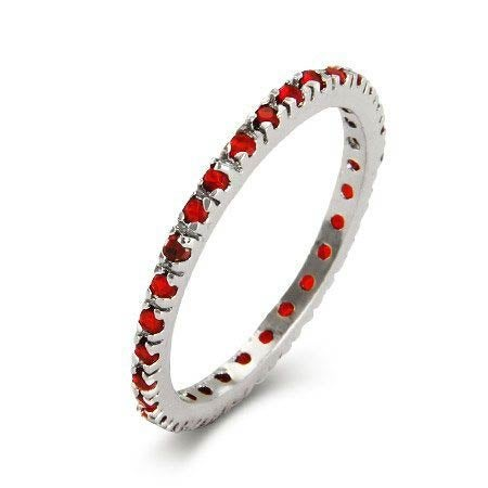Ruby CZ Sterling Silver Stackable Eternity Band | Eve's Addiction®