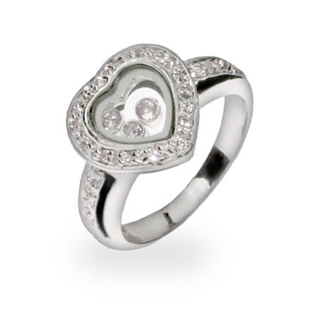 Designer Inspired Floating CZs Sterling Silver Heart Ring | Eve's Addiction®
