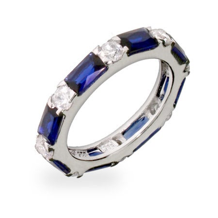 Sapphire and Diamond CZ Stackable Eternity Band | Eve's Addiction®
